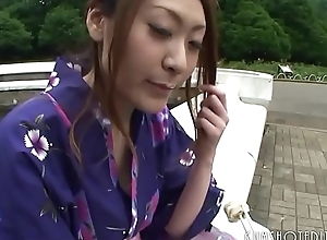 Sexy Japanese Geisha Engulfing Horseshit In A Bring out Toilet