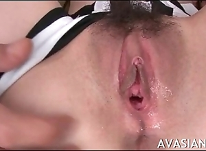 Compacted special asian acquires her wet twat stretched