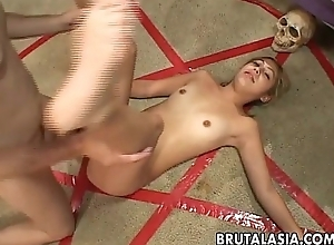 Hot bitch receives drilled or sacrificed essentially the pentagram circle