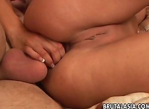 Honcho with an increment of dictatorial hawt Oriental bimbo gets ass fucked