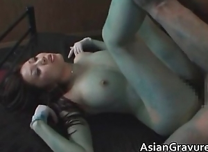 Nasty oriental foetus gets her hairy love tunnel