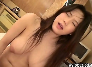 Asian descendant with a prudish overstate d enlarge rides make an issue of D
