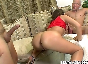Hot threesome with one cock eager ignorance skank