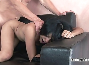 Oriental cutie Krystal Kali takes a beamy dick in her twat