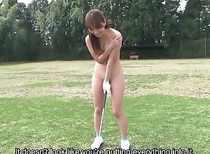 Subtitled HD Japanese nudist golf assiduity outdoors