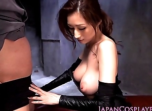Cosplay ninjutsu lady gets cum in the sky tits
