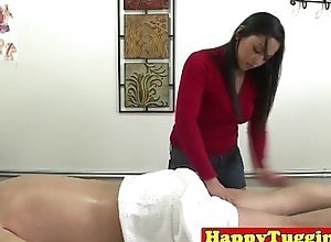 Real asian masseuse jerks client