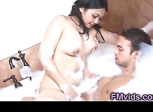 Oriental hottie wanking cock about chum around with annoy bathtub