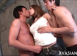 Debauched asian threesome rimming and ID card scene