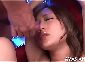 Crooked asian bimbo promised together with facial jizz flow
