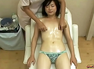 Oriental Girl Down Bring together Tits Massaged Pussy Stimulated Down Sex toy On Hammer away Massage