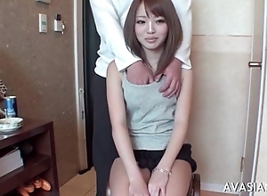 Little oriental schoolgirl learns in what way to use dildo