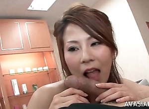 Busty japanese giant cook jerking and deepthroat