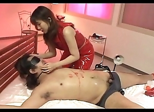 Injurious Asian shake out in stockings wringing hawt expound on her guy