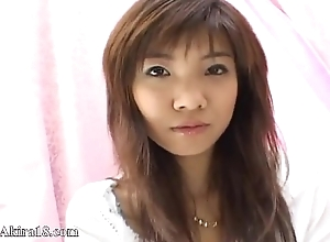 Cute japanese chick persiflage herself