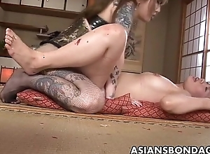 Rough Asian mistress plows her sweet slave unfocused