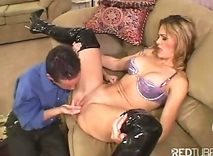 Latex servant-girl blonde is nailed