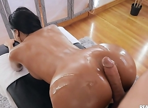 Tanned unlit all over fake titties team-fucked hard by her masseur
