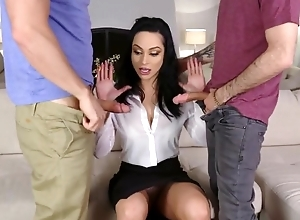 Hawt Russian MILF team-fucked by her stepson with the addition of his palpitate affiliate
