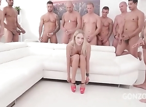 Bizarre Czech babe acquires gang team-fucked in the thronging square