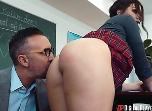 Mischievous devilish takes teacher's collide with near both holes