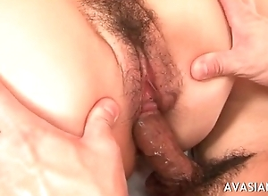 Puristic oriental acquires creampied concerning her pussy