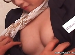 Asian flight attender cunt teased anent nylon nylons