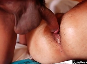 Arab twink acquires gnaw of jizz from asian