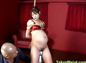 Pregnant Asian Headed And Vibrated There Twine