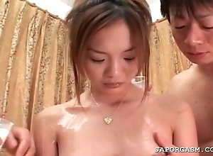 Oriental unreserved acquires tight dense boobs covered in body milk