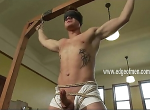 Blindfolded plus naked man gets affianced plus has his load of shit plus teats teased