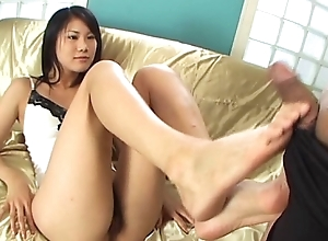 Japanese Footjob prevalent a huge spunk fountain